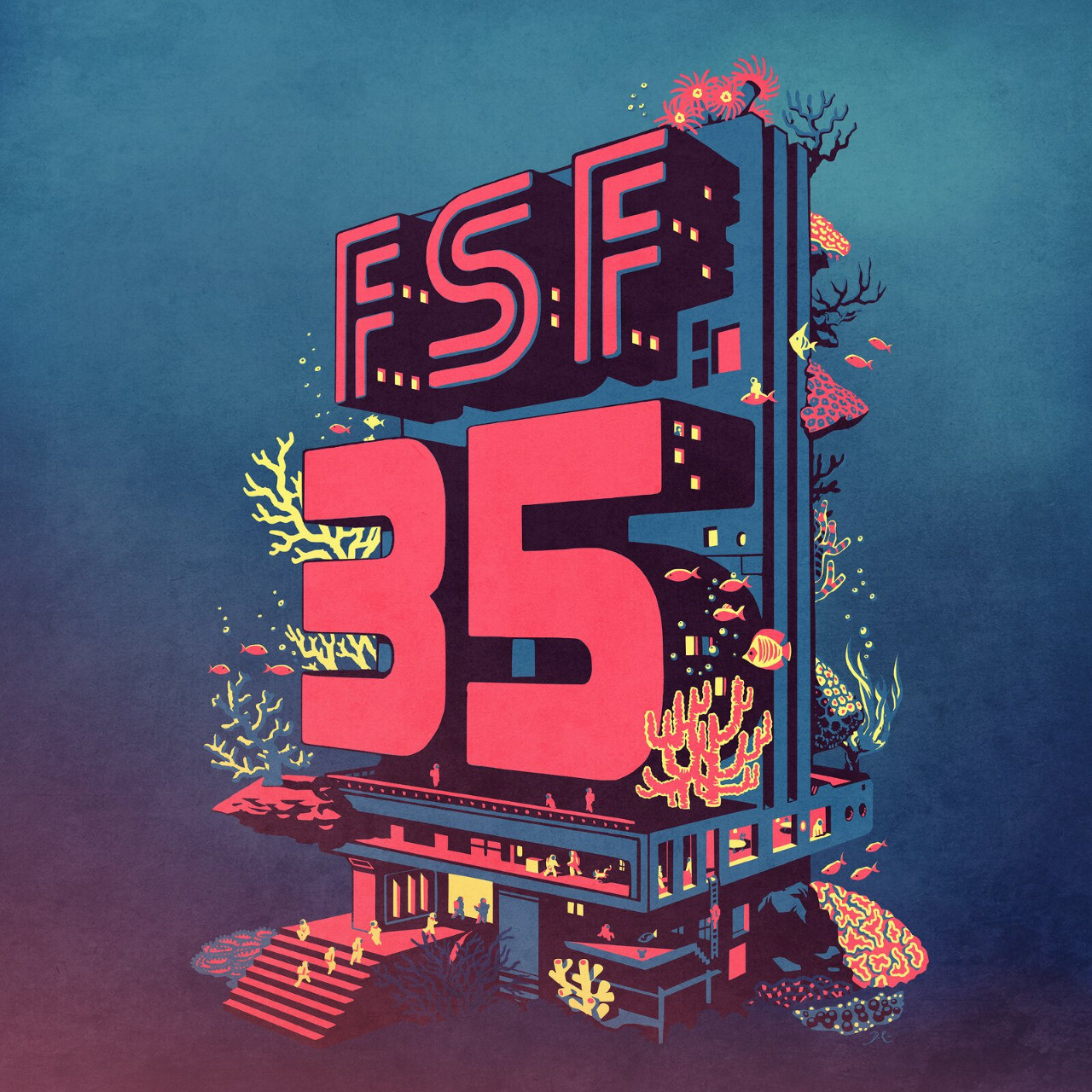 Illustration of a retro futuristic city under the sea with fishes and corals. A big FSF 35 sign is the central part of the building.