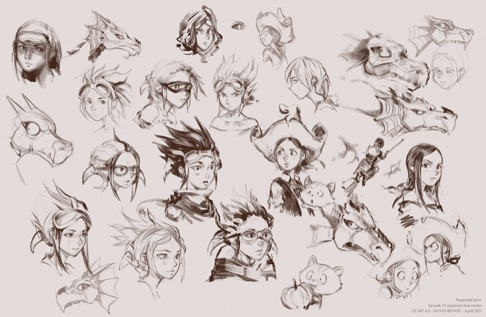 A montage of roughly 25 Sketches, featuring Pepper at various ages, Arra dragon, Carrot and Torreya the pilot.