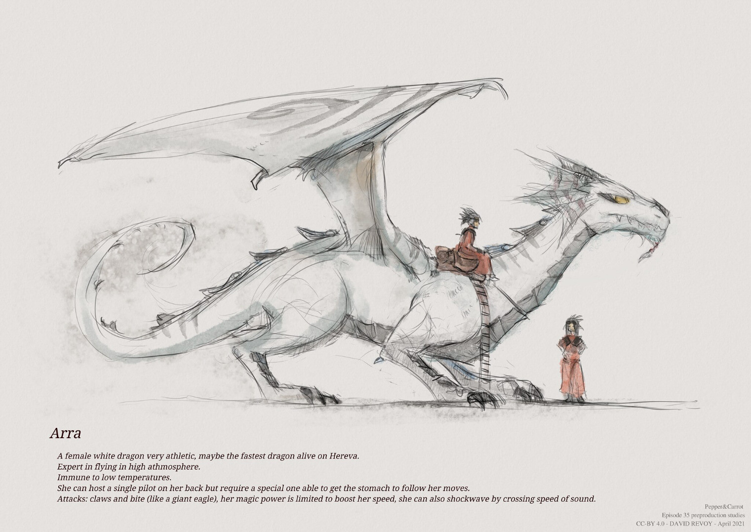 A model-sheet of Arra the dragon: <br /><br />Description on the picture: Arra, a female white dragon very athletic, maybe the fastest dragon alive on Hereva.<br />Expert in flying in high athmosphere. <br />Immune to low temperatures. <br />She can host a single pilot on her back but require a special one able to get the stomach to follow her moves.<br />Attacks: claws and bite (like a giant eagle), her magic power is limited to boost her speed, she can also shockwave by crossing speed of sound.