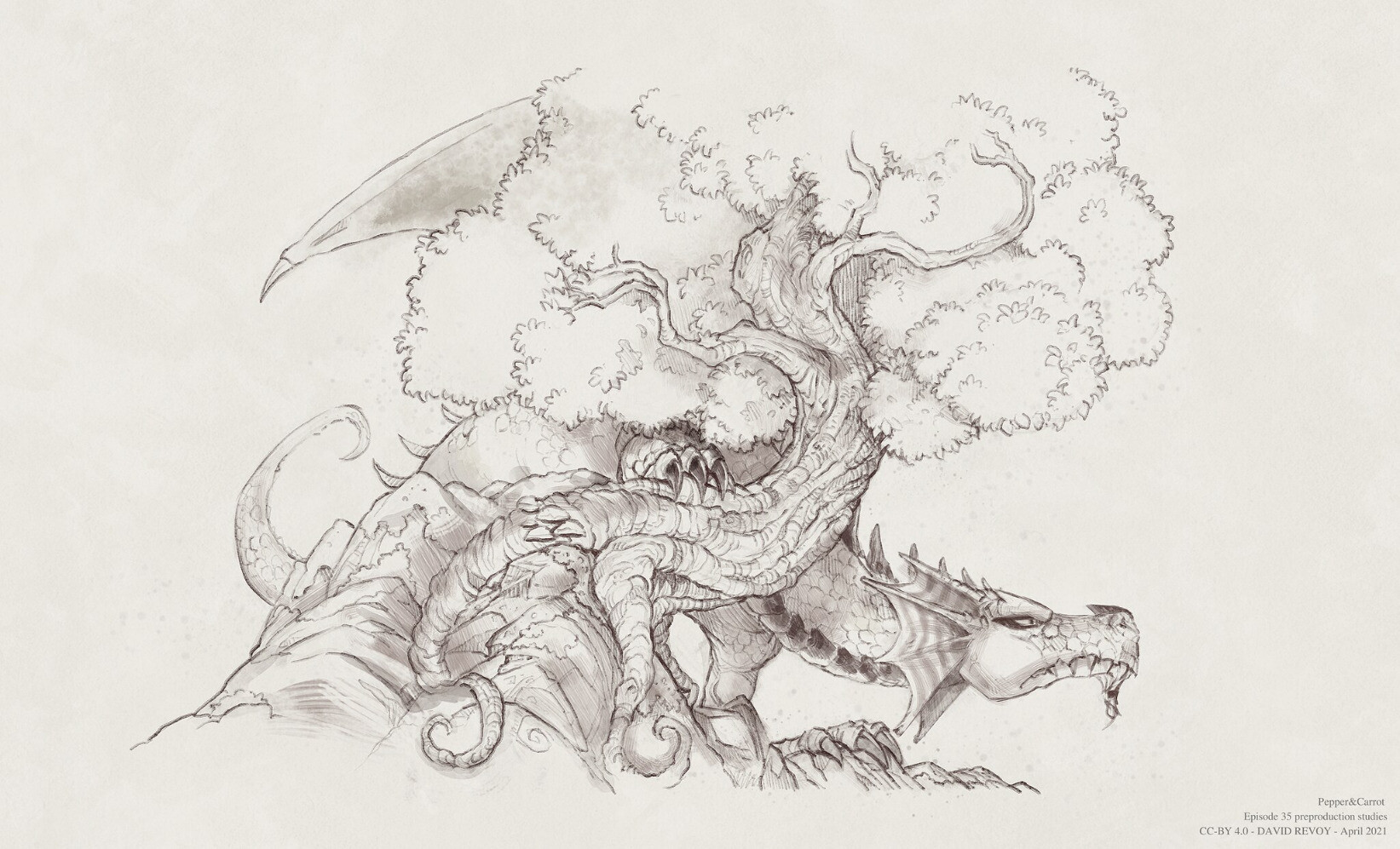 An early drawing of Arra dragon hidding behind a tree.