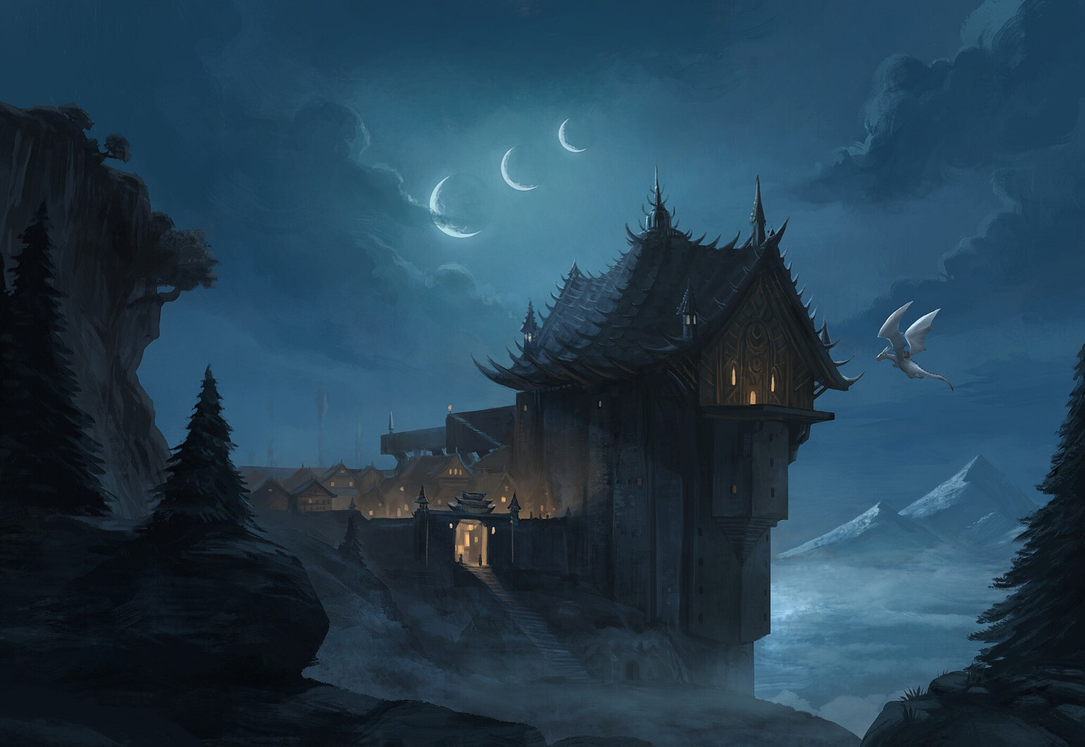 An illustration. The landscape view at night of a spiky temple and the village living at its feet. The light indicate a life at evening. A white dragon is ready to land on a platform at the rear of the temple. Three thin crescent of moon appears in the sky.